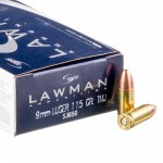 50 Rounds of 9mm Ammo by Speer Lawman - 115gr TMJ