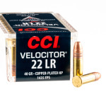50 Rounds of .22 LR Ammo by CCI Velocitor - 40gr CPHP