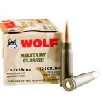 1000 Rounds of 7.62x39mm Ammo by Wolf Military Classic - 124gr HP