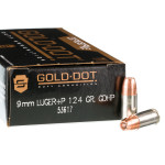 50 Rounds of 9mm + P Ammo by Speer Gold Dot - 124gr HP