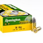 500 Rounds of .38 S&W Ammo by Remington Performance WheelGun - 146gr LRN