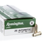 50 Rounds of .25 ACP Ammo by Remington - 50gr MC