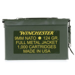 1000 Rounds of 9mm NATO Ammo in Ammo Can by Winchester USA - 124gr FMJ