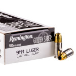 50 Rounds of 9mm Ammo by Remington Golden Saber - 147gr BJHP
