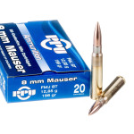 200 Rounds of 8mm Mauser Ammo by Prvi Partizan - 198gr FMJBT