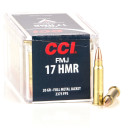 50 Rounds of .17HMR Ammo by CCI - 20gr FMJ